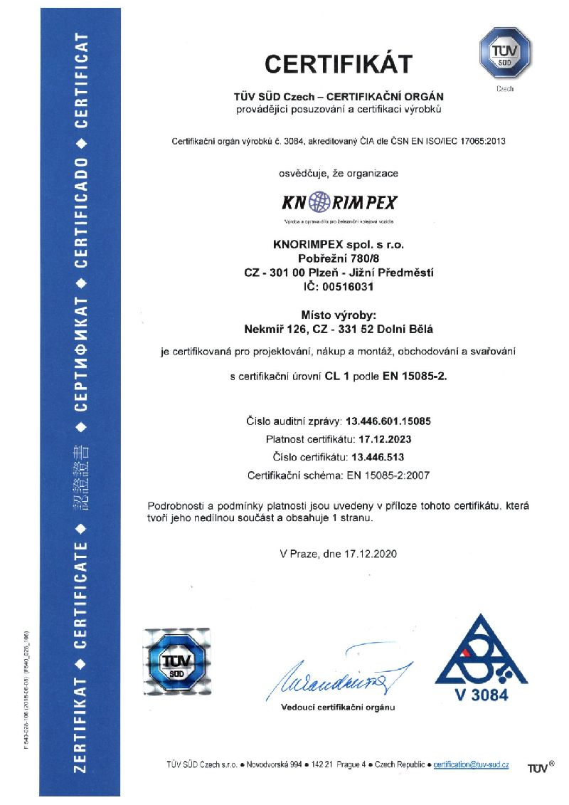 Certifikát 150085 do 17.12