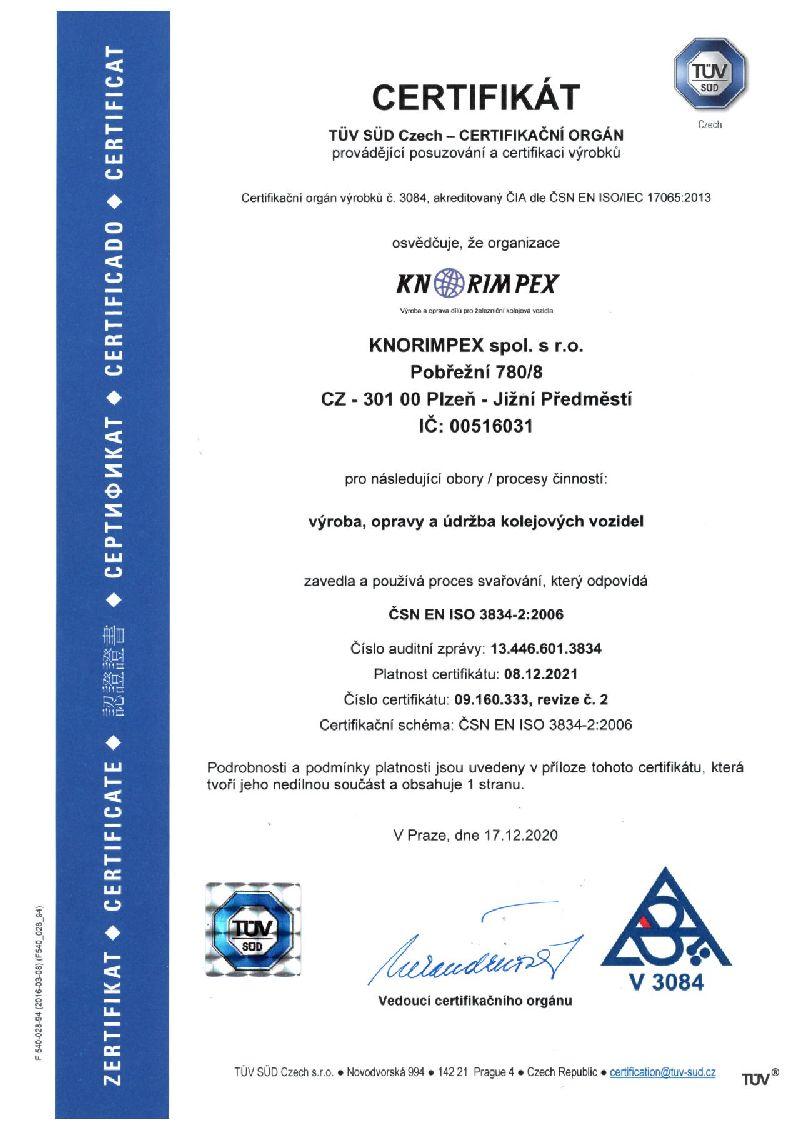 Certifikát 3834-2 do 8.12.2021 Rev.č