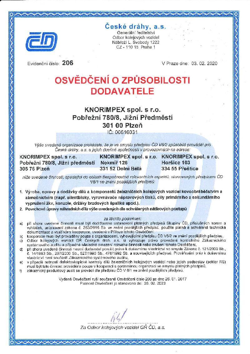 Certifikát způsobilosti č