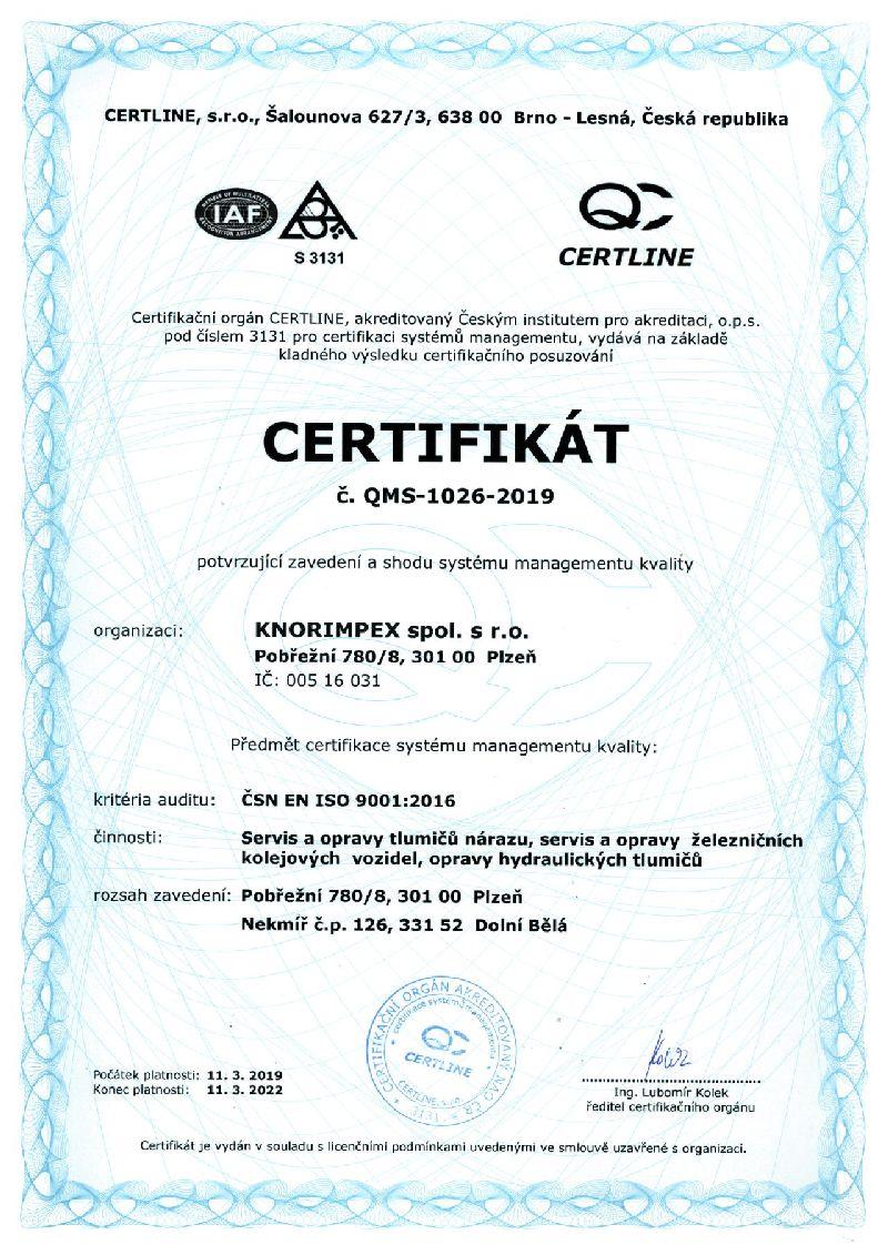 KI Certifikát ISO 9001 do 11.3