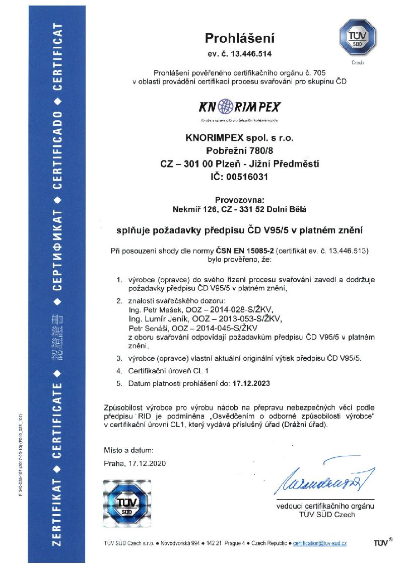 Prohlášení ČD V95-5 do 17.12